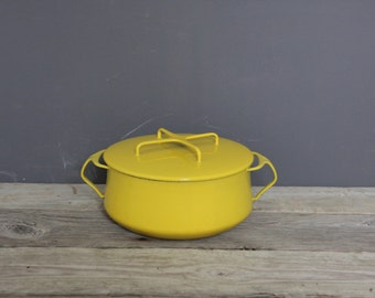 Dansk Kobenstyle Yellow Enamel Dutch Oven Pot by Jens Quistgaard Early Ducks