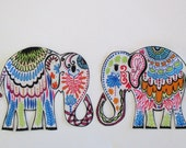 """2 Elephant Iron On Fabric Applique Patch 5 1/2"""""""
