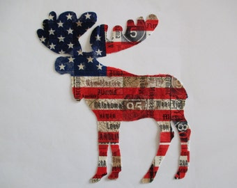 Americana Flag Iron On Moose 7""