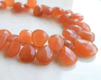 Peach Moonstone Gemstone Briolette Faceted Pear Tear Drop 9 to 10mm 15 beads