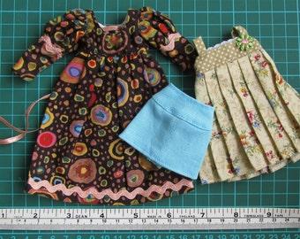 Long Brown Back Lacings Boho Dress PLUS floral pleats dress PLUS mini skirt for Blythe doll