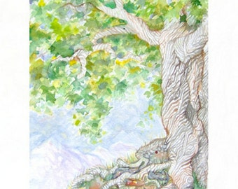 Ancient Tree Original Watercolor Painting