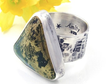 Pyrite Ring - Sterling Silver Apache Gold ring - Large Pyrite Statement ring - US size 7.75 - Chunky Pyrite Ring - Large triangle ring