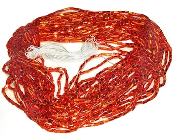 Vintage Bright Orange Bugle Beads Silver Lined 12 Strand Hank