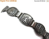 SALE Dutch Bracelet - Vintage Travel Souvenir, Scene Panels Silver