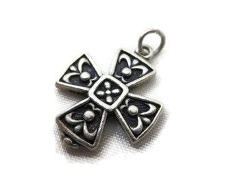 Sterling Cross Necklace Pendant - Silver Charm, Etruscan Revival, Maltese Cross