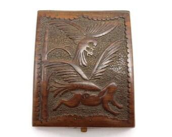 Wood Card Case - Cigarette Box, European, Hand Carved