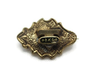 Victorian Jewelry - Antique Brooch, Taille D'Epargne, Gold Washed
