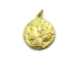 Roman Coin Pendant - Gold Tone, Historical Costume Jewelry