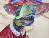 Tyranosaurus Rex Tranny - Coffee and Watercolor Victorian Steam Punk Fine art print, red hat, purple rose, dinosaur, lady, rex