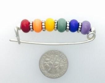 Rainbow and Gay Pride Glass Bead Brooch