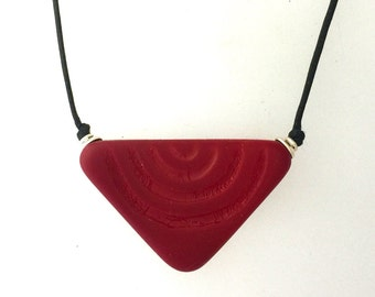 Red Glass Traditional African Pendant