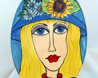 Ceramic Oval Wall Plaque Original Artwork Hand Painted Blonde Blue Hat Ready to Hang on Etsy