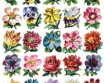Self Adhesive Victorian Flower Stickers 1 Sheet Colorful Scrapbooking Stickers  Number C57