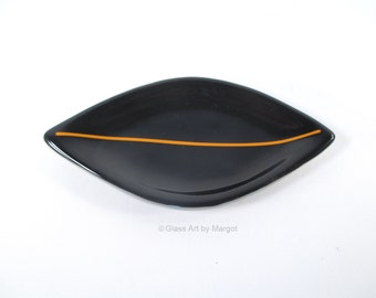 Small Black Fused Glass Plate Trinket Ring Dish, Coffee Spoon Rest Holder, Jewelry Holder, Coffee Tea Drinker Gift