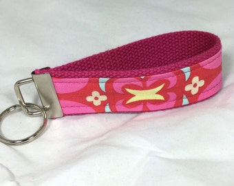 Wristlet Key Fob Wrist Key Chain Key Holder Keychain in Amy Butler Midwest Modern Ready to Ship