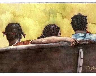 After School (Fine Art Print - southern nostalgia - watercolor print - children - black - pew - colors warm - wall art - wall decor)