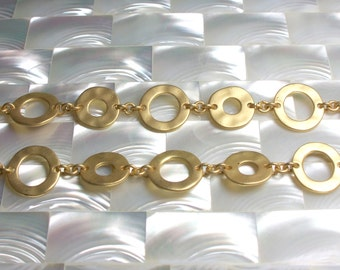 NEW! 1 Foot Chain Matte Gold Plated Brass Open Link Flat Circle Hammered Texture Sealed Modern Jewelry Jewellery Craft Supplies Fancy