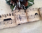 French Inspired Christmas Ribbon  Joueux Noel  Noel - Birds Singing in Harmony