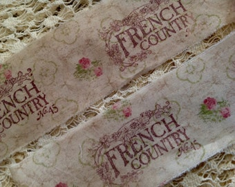 FRENCH COUNTRY - Hand stamped trim - Romantic Floral Victorian Muted Roses