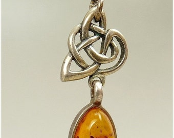Sterling Silver Baltic Amber Celtic Knot Pendant Necklace