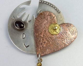 Vintage Sterling Silver Mixed Metals Heart Love Brooch
