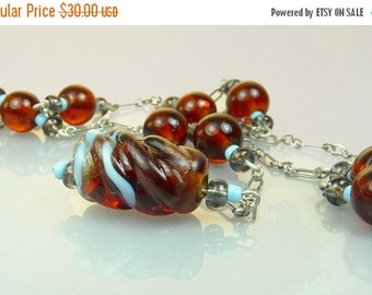 Sterling Silver Amber Art Glass Bead Necklace