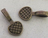 100 Large Pendant Bails Antiqued Brass Bronze Hearts Flat Glue Pad Finding Dichroic Scrabble