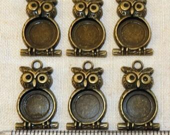 6 Antiqued Brass Owl Pendant Charms Frames Bezel Finding Setting Earrings Photo Resin
