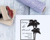 Destination Wedding Stamp - Palm Tree, Custom Address Stamp, Wedding Stamp, Beach Wedding, Wooden Stamp, Self Inking, Florida, California