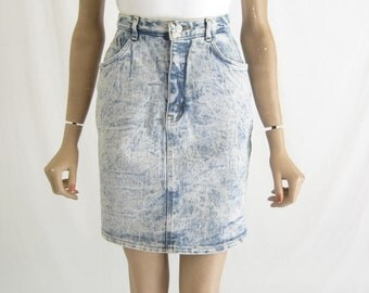 Vintage 80's JORDACHE Acid Washed Denim Skirt