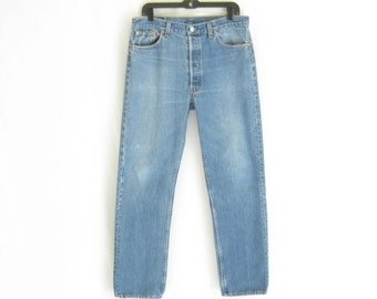 Vintage LEVIS 501 Made in U.S.A. Straight Leg Jeans. Size 36 X 32