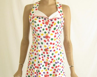 Vintage 80's Polka Dot  Dress.  Size  X Small