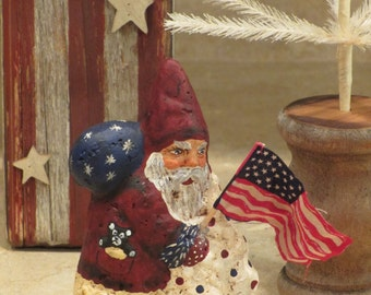 Paper mache Patriotic Santa w/Tree/Flag