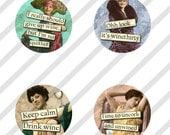 """Digital Collage Sheet, Circles, Bottle Caps, 1"""", 1.25"""", 1.5"""", 2"""" and 3"""" Sized Funny Wine Ladies, 5 Sizes (Sheet no. FS208) Instant Download"""