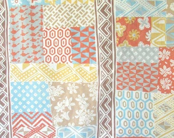 Vintage 1973 Queen Size Percale Designer  Flat Sheet in Patchwork Tiles Pattern Design & Colors, Vintage Bedding, Vintage Fabric