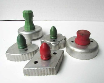 Lot of 5 Different 1940 Vintage Metal Cookie Cutters with Green and Red Wooden Knob Handles, Vintage Kitchen Utensil, Cookie, Biscuit Baking