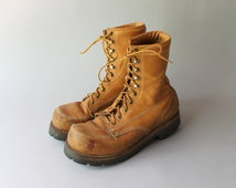 Vintage Work Boots / 80s 90s Lehigh Steel Toe Work Boots / Maple Leather Lineman Boots