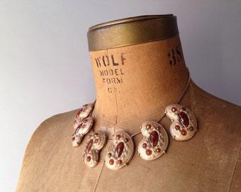 Vintage 1950s Necklace / 50s Mid Century Modern Amoeba Necklace / Atomic Enamel Ceramic Statement Necklace