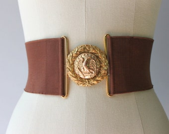 1950s Waist Cincher / Vintage 50s Belt / 1940s 1950s Wide Military Cinch Belt