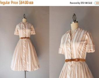 STOREWIDE SALE 1950s Shirtwaist Dress / Vintage 50s Striped Cotton Day Dress / Full Skirt Fifties Pleated Dress