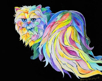"8x10  PERSIAN Cat Art Print by Sherry Shipley ""THE DEVA"""