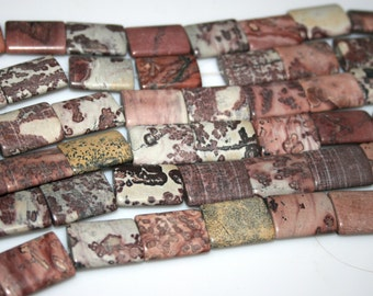 "Chohua Jasper Rectangle Beads 15x20 15.5"" long 20 beads"