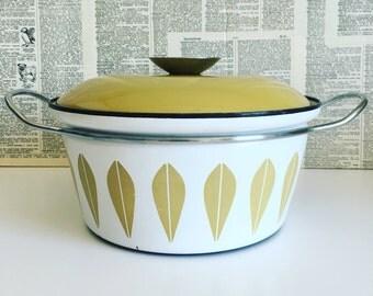 Vintage Catherineholm pot dutch oven 2 qt Lotus yellow mustard