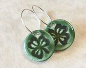 Green Shamrock Porcelain Earrings-Clover Earrings-Handcrafted Shamrock-St. Patrick's Day Earrings-Wearing of the Green-Ceramic Shamrock