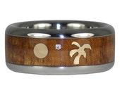 Palm Tree and Moon Diamond Titanium Ring