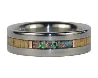 Mango Wood and Fire Opal Ring