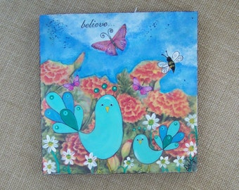 Birds Butterfly Bee and flowers original painting One of  kind folk Art Mixed media encaustic