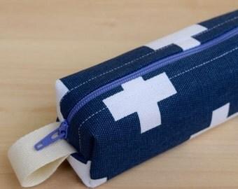 Blue Cross Skinny Mini Roll (pencil or makeup case)