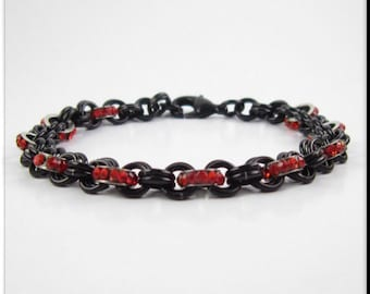 Rhinestone Red Chainmaille Bracelet with Black Anodized Aluminum Jump Rings Chain Maille Bracelet